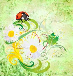 grunge illustration with ladybird and daisy flowers green vintag