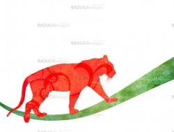 red watercolor jungle cat (panther or tiger) silhouette illustra