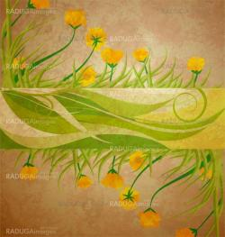 yellow tulips banner on brown grunge background spring frame