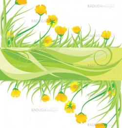 green banner with yellow flowes and green grass vector isolated