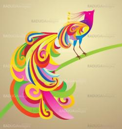 Peafowl bird decor style illustration colorful image