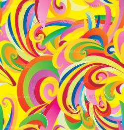 colorful floral curves vintage paper seamless background
