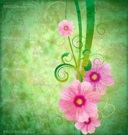 grunge vintage style background with pink spring flowers and gre