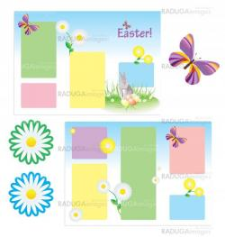 vector tri-folder template for spring easter with butterfly and