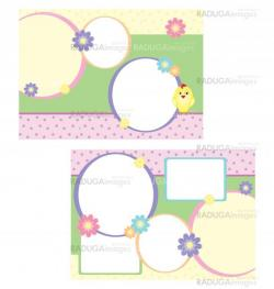 vector tri-folder template for spring easter with chicken and fl
