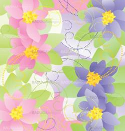 pink and blue flowers vector illustrations