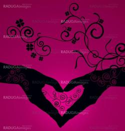 vector heart shaped hands silhouette on dark pink background