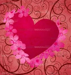 red grunge heart background with flowers and  curves