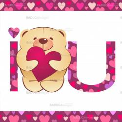 teddy bear with heart and i love you text on white background wi