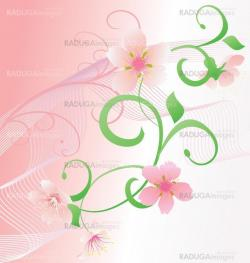 pink romance vector background witn flowers and curves
