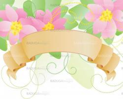 vector pink flowers and label scroll spring illustration