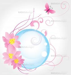 blue bubble and three pink flowers with butterfly isolated on wh