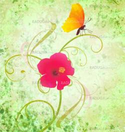 green textured background with flower and butterfly