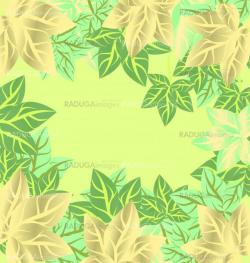 green leaves vector frame background spring or summer season bor