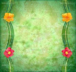 green textured background with flowers border