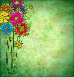 colorful graphic flowers on grunge watercolor background