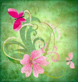 spring butterfly and pink flower on grunge green background east