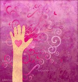 Hand with heart giving love, friendship, peace or help. Magenta