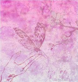 detailed butterfly with floral ornament on magenta backdrop