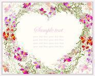 Beautiful decorative card with flowers. Decorative heart. Hand drawn valentines day greeting card.
