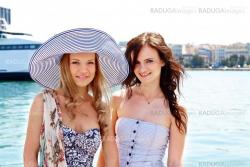 Two girls in the background of the ocean liner