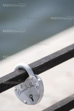 metal lock of love on an iron structure
