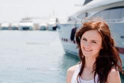A girl and a yacht