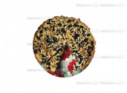 Fresh pie with bilberry on the white background