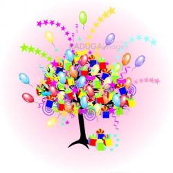 cartoon party tree with baloons, giftes, boxes for happy  event and holiday