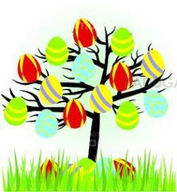 cartoon easter tree with eggs and grass