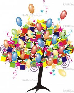 cartoon party tree with baloons, gifts, boxes for happy  event and holiday