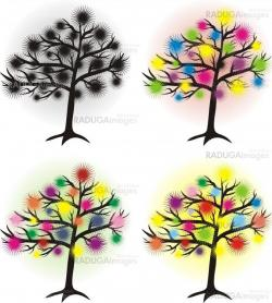 set of abstract tree with halftone sun, design element