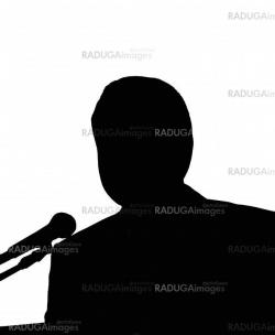 Silhouette of the man with microphone