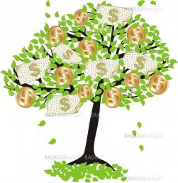 money  tree.with dollar coins and banknotes