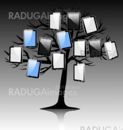 abstract tree with rablet on black white background