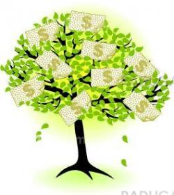 money  tree.with dollar banknotes