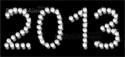pearl  letters 2013 isolated on black background
