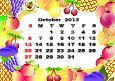 October - monthly calendar 2013 in frame with fruits
