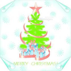 christmas background with tree on a paper