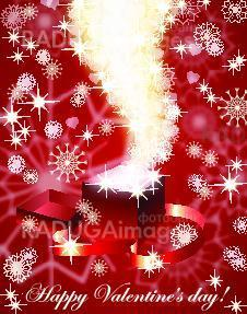 Red valentine's  background with magic open gift box , eps10