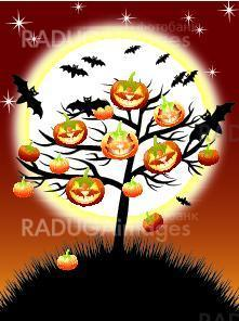 Halloween pumpkins tree on night background with a moon, EPS10