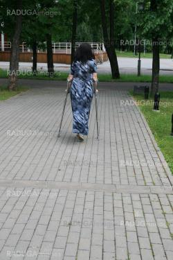 Young women with crutches