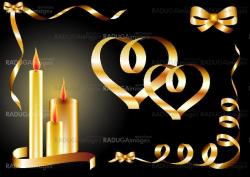 valentines background, greetings card with hearts and candles