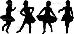 vector silhouette girl dancing isolated on white background