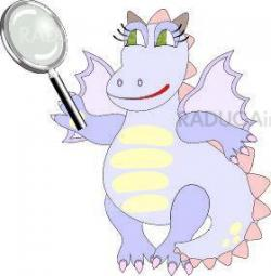 Cartoon dragon with magnifying glass – chinese symbol of 2012