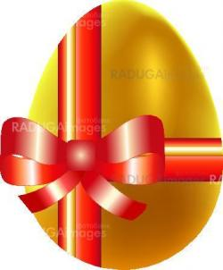 Colored eggs with gold ribbon, easter background