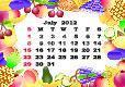 July - monthly calendar 2012 in colorful frame