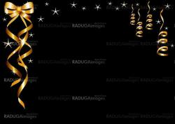 greeting card with gold tapes on a black background