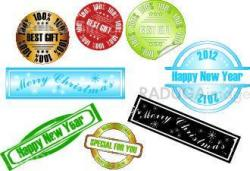 vector new year stamp