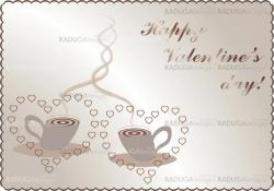 valentines background and card with coffee